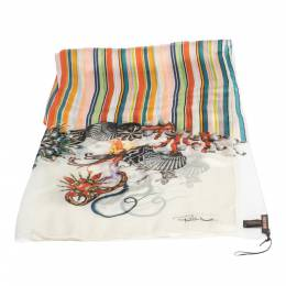 Roberto Cavalli Multicolor Striped Oriental Print Silk Scarf 292761
