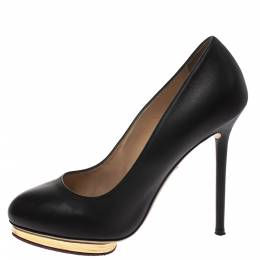 Charlotte Olympia Black Leather Dolly Platform Pumps Size 38.5 294386