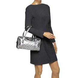 Gucci Metallic Silver Guccissima Leather Britt Boston Bag 294171