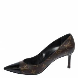 Louis Vuitton Brown Monogram Canvas And Leather Cap Toe Fetish Pointed Toe Pumps Size 38.5 291790