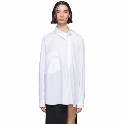 Ann Demeulemeester White Misplaced Button Down Shirt 2001-2004-P-120-001 - 1