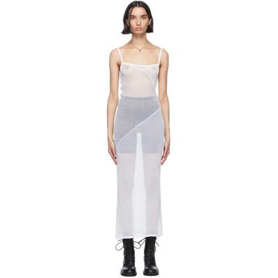 Ann Demeulemeester White Sheer Foggy Knitted Slip Dress 2001-2624-256-001 - 1