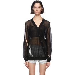 Ann Demeulemeester Black Wool Asymmetric Cardigan 2001-2628-258-099