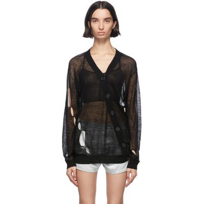 Ann Demeulemeester Black Wool Asymmetric Cardigan 2001-2628-258-099 - 1