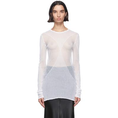 Ann Demeulemeester White Sheer Foggy Sweater 2001-2622-256-001 - 1