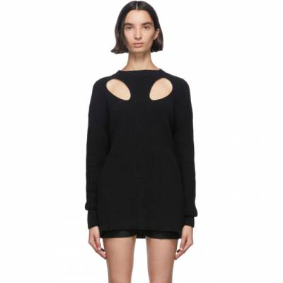 Ann Demeulemeester Black Cut-Out Hawke Crewneck Sweater 2001-2630-255-099 - 1