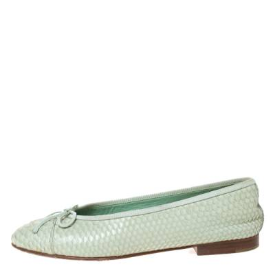 Chanel Light Green Python Bow Ballet Flats Size 38 292271 - 2