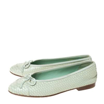 Chanel Light Green Python Bow Ballet Flats Size 38 292271 - 3
