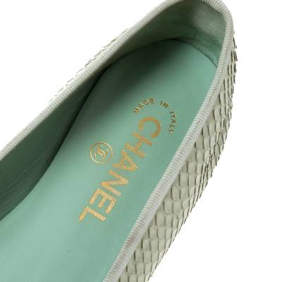 Chanel Light Green Python Bow Ballet Flats Size 38 292271 - 6