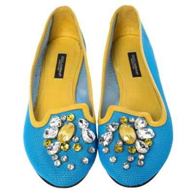 Dolce&Gabbana Blue/Yellow Woven Leather And Patent Trim Crystal Embellished Ballet Flats Size 37 294508 - 2