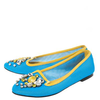 Dolce&Gabbana Blue/Yellow Woven Leather And Patent Trim Crystal Embellished Ballet Flats Size 37 294508 - 3