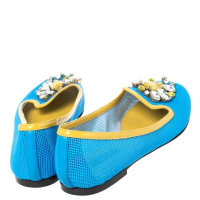Dolce&Gabbana Blue/Yellow Woven Leather And Patent Trim Crystal Embellished Ballet Flats Size 37 294508 - 4