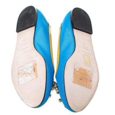 Dolce&Gabbana Blue/Yellow Woven Leather And Patent Trim Crystal Embellished Ballet Flats Size 37 294508 - 5