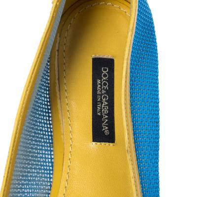Dolce&Gabbana Blue/Yellow Woven Leather And Patent Trim Crystal Embellished Ballet Flats Size 37 294508 - 6