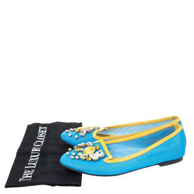 Dolce&Gabbana Blue/Yellow Woven Leather And Patent Trim Crystal Embellished Ballet Flats Size 37 294508 - 7