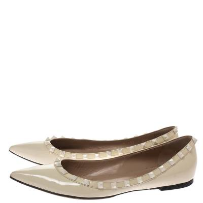 Valentino Offwhite Patent Leather Rockstud Pointed Toe Ballet Flats Size 40.5 293770 - 3