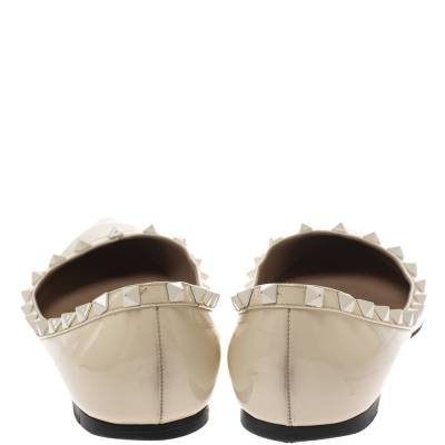 Valentino Offwhite Patent Leather Rockstud Pointed Toe Ballet Flats Size 40.5 293770 - 4