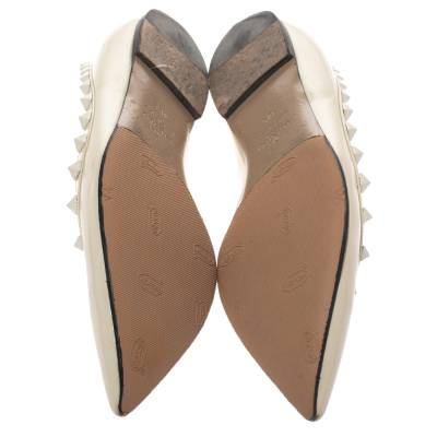 Valentino Offwhite Patent Leather Rockstud Pointed Toe Ballet Flats Size 40.5 293770 - 5
