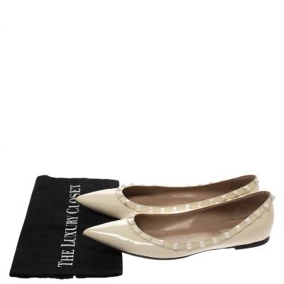 Valentino Offwhite Patent Leather Rockstud Pointed Toe Ballet Flats Size 40.5 293770 - 7