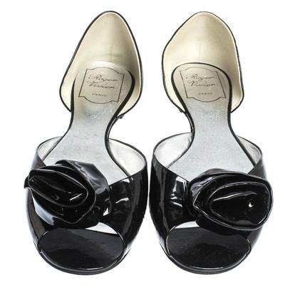 Roger Vivier Black Patent Leather Rose N'Roll Peep Toe Ballet Flat Size 39 294631 - 2