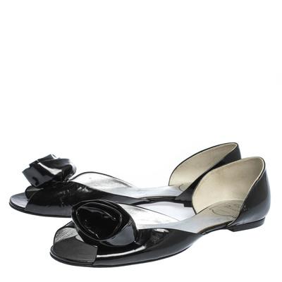 Roger Vivier Black Patent Leather Rose N'Roll Peep Toe Ballet Flat Size 39 294631 - 3