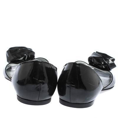 Roger Vivier Black Patent Leather Rose N'Roll Peep Toe Ballet Flat Size 39 294631 - 4