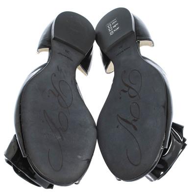 Roger Vivier Black Patent Leather Rose N'Roll Peep Toe Ballet Flat Size 39 294631 - 5