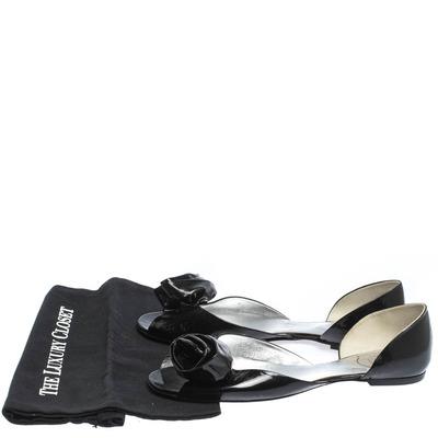 Roger Vivier Black Patent Leather Rose N'Roll Peep Toe Ballet Flat Size 39 294631 - 7