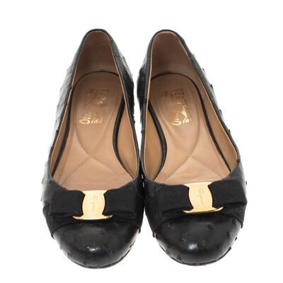 Salvatore Ferragamo Black Ostrich Leather Varina Ballet Flats Size 38.5 294478 - 2