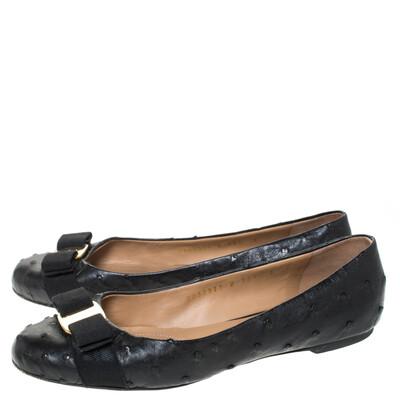 Salvatore Ferragamo Black Ostrich Leather Varina Ballet Flats Size 38.5 294478 - 3