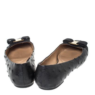 Salvatore Ferragamo Black Ostrich Leather Varina Ballet Flats Size 38.5 294478 - 4