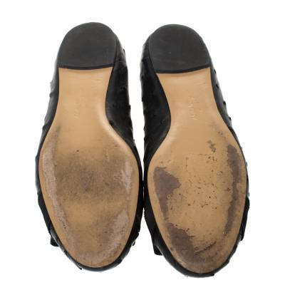 Salvatore Ferragamo Black Ostrich Leather Varina Ballet Flats Size 38.5 294478 - 5