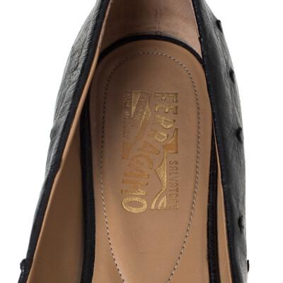 Salvatore Ferragamo Black Ostrich Leather Varina Ballet Flats Size 38.5 294478 - 6