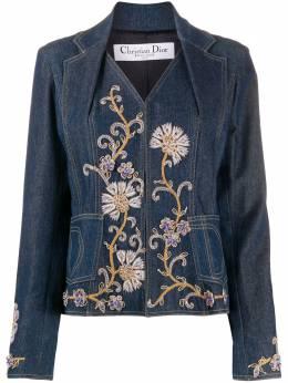 Christian Dior джинсовая куртка с цветочной вышивкой CVB20161