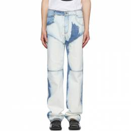 Telfar Blue and White Bleached Panelled Jeans SS20-D-01–CH