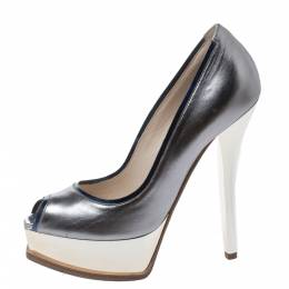 Fendi Silver Leather Peep Toe Platform Pumps Size 38 294725