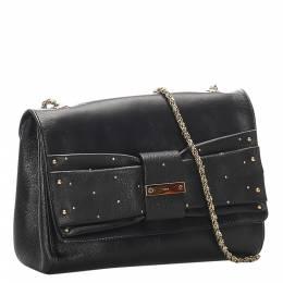 Chloe Black June Bow Leather Shoulder Bag 294169