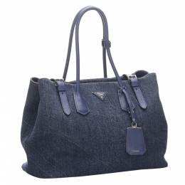 Prada Blue Denim Tote Bag 294038
