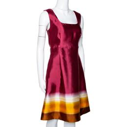 Prada Maroon Ombre Printed Silk Sleeveless Dress M 294808