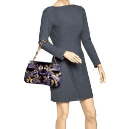 Gucci Purple/Gold Velvet and Alligator Limited Edition Tom Ford Dragon Shoulder Bag 294552