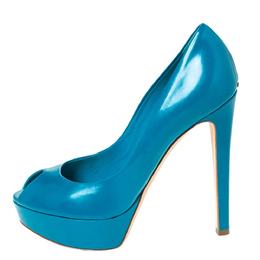 Dior Teal Leather Miss Dior Peep Toe Platform Pumps Size 38 294738