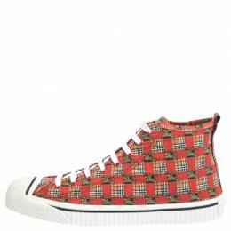 Burberry Red Canvas Kingly Print High Top Sneakers Size 44.5 294573