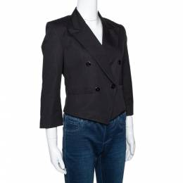Kenzo Black Cotton Linen Double Breasted Crop Jacket M 294575