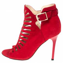Jimmy Choo Red Suede Cage Strappy Ankle Strap Sandals Size 36.5 294520