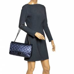 Chanel Metallic Blue Quilted Leather Jumbo Reissue 2.55 Classic 227 Flap Bag 294831