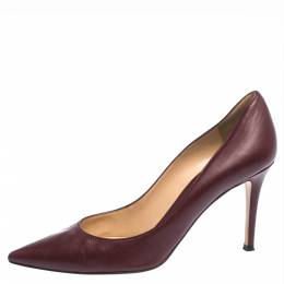 Sergio Rossi Burgundy Leather Pointed Toe Pumps Size 39 294900