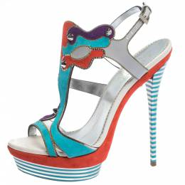 Loriblu Multicolor Suede Spike And Chain Embellished Platform Sandals Size 37.5 294902