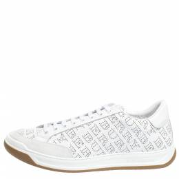 Burberry White Perforated Leather Timsbury Sneakers Size 45.5 294567