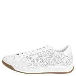 Burberry White Perforated Leather Timsbury Sneakers Size 46 294610