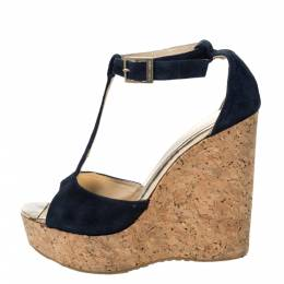 Jimmy Choo Blue Suede Pela Cork Wedge Ankle Strap Platform Sandals Size 37.5 294987